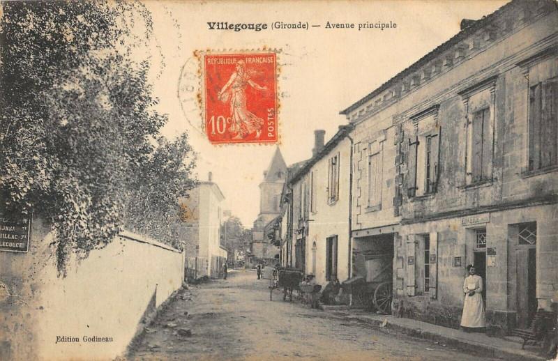 Carte postale ancienne Villegouge Avenue Principale (cliché pas courant à Villegouge