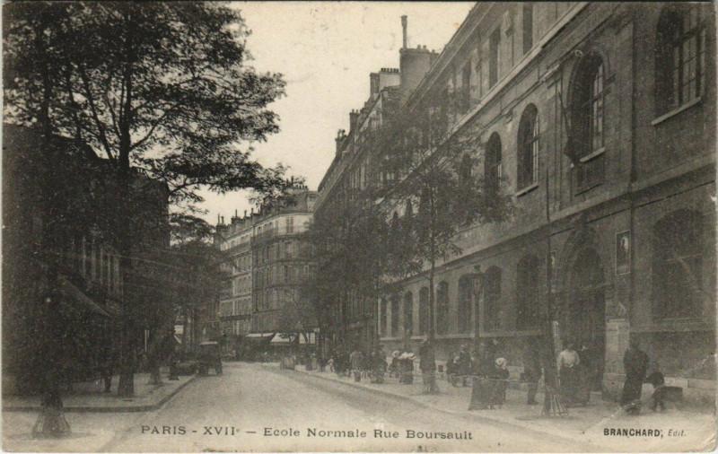 Carte postale ancienne Paris 17e - Ecole Normale Rue Boursault à Paris 17e