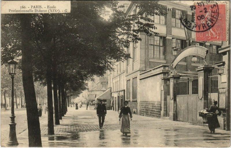 Carte postale ancienne Ecole Professionnelle Diderot à Paris 19e