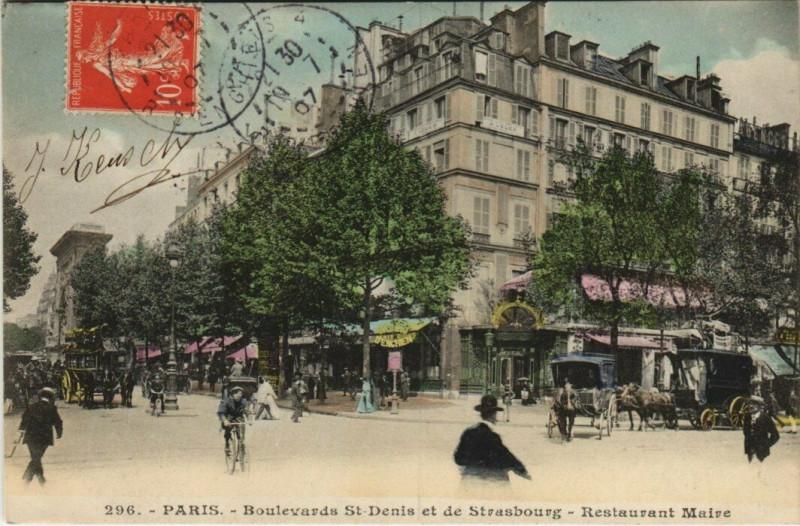 Carte postale ancienne Paris 10e - Boulevards St-Denis et de Strasbourg à Paris 10e