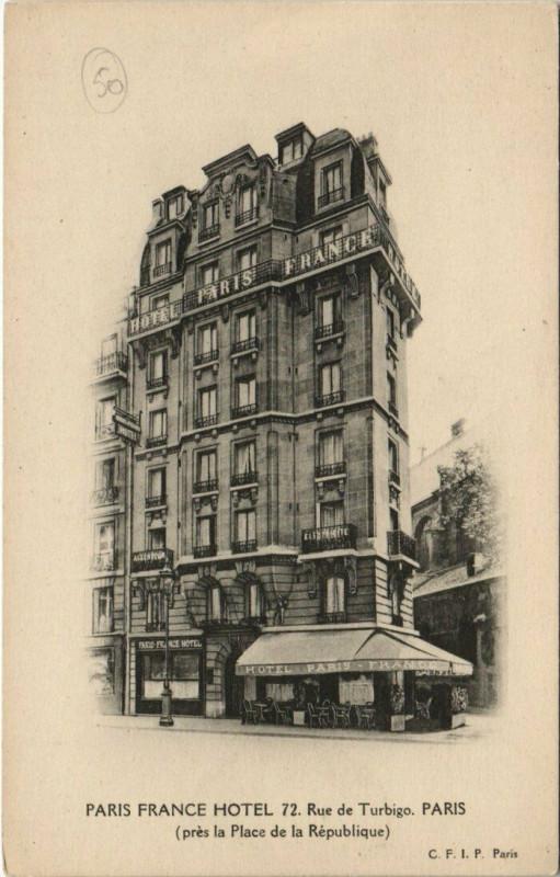 Carte postale ancienne Paris 3e - Paris France Hotel - 72, Rue de Turbigo à Paris 3e