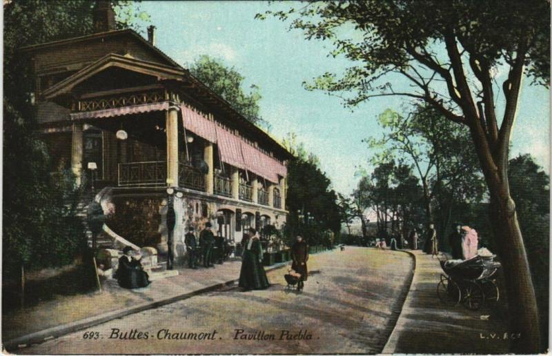 Carte postale ancienne Buttes-Chaumont - Pavillon Puebla à Paris 19e