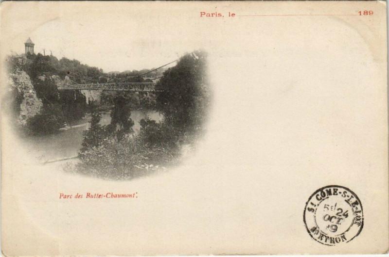 Carte postale ancienne Parc des Buttes-Chaumont à Paris 19e