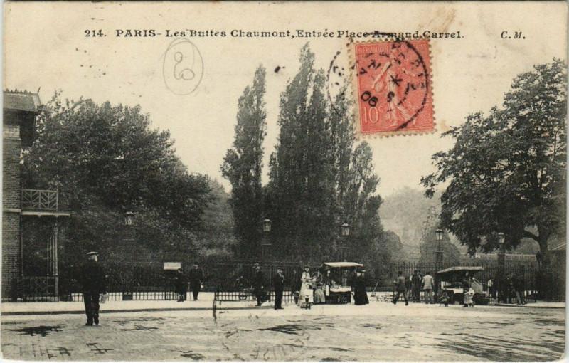 Carte postale ancienne Les Buttes Chaumont, Entrée Place Armand Carrel à Paris 19e