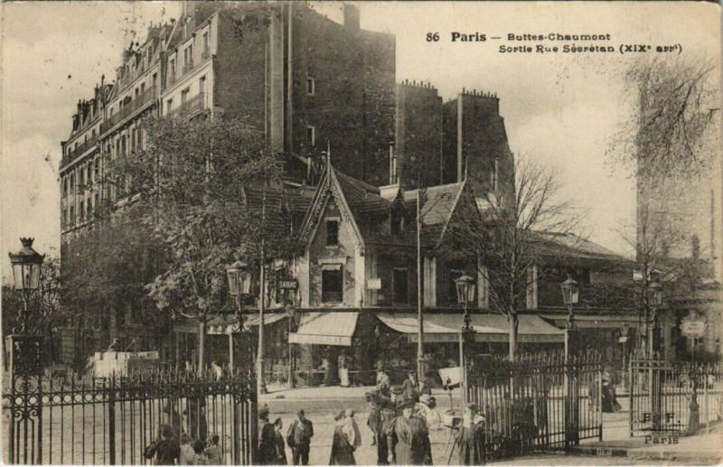 Carte postale ancienne Buttes-Chaumont - Sortie Rue Sécrétan à Paris 19e