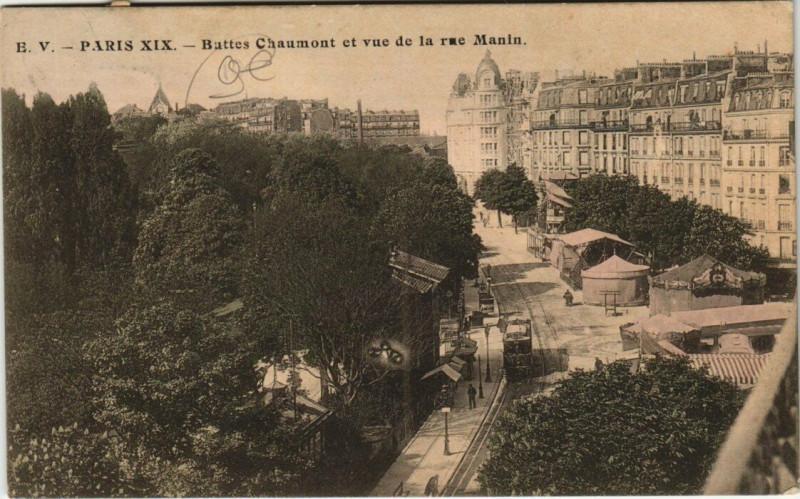 Carte postale ancienne Buttes Chaumont et vue de la rue Manin à Paris 19e