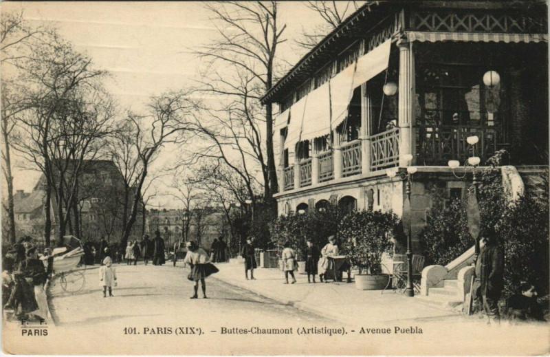 Carte postale ancienne Buttes-Chaumont (Artistique) - Avenue Puebla à Paris 19e