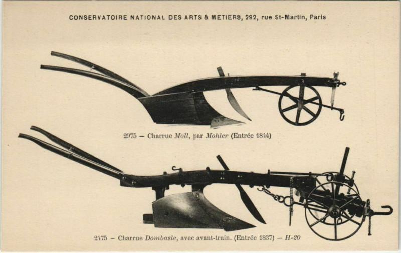 Carte postale ancienne Paris (3e) Cnam - charrues à Paris 3e