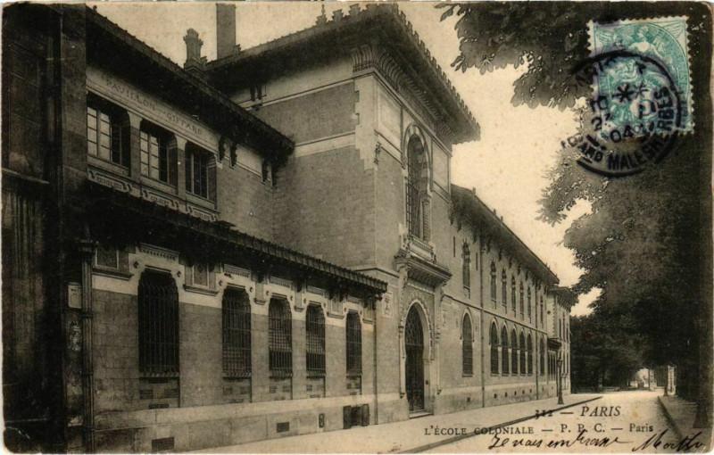 Carte postale ancienne Paris 3e - L'Ecole Coloniale  à Paris 3e