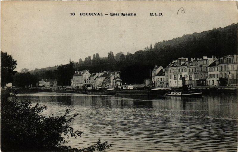 Carte postale ancienne Bougival Quai Sganzin à Bougival