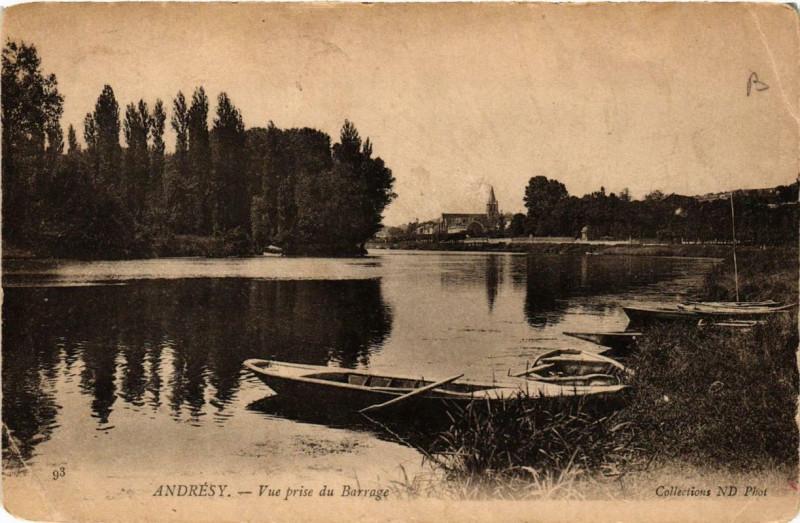 Carte postale ancienne Andresy Vue prise du Barrage à Andrésy