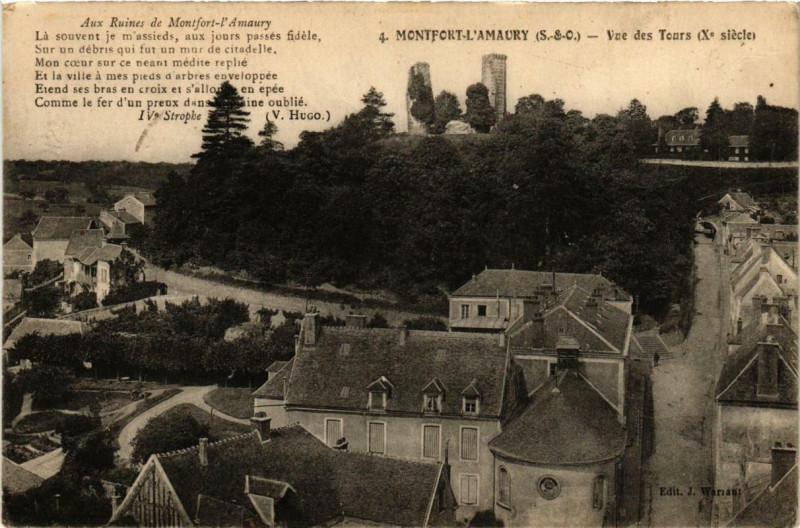 Carte postale ancienne Montfort-L'Amaury Vue des Tours à Montfort-l'Amaury