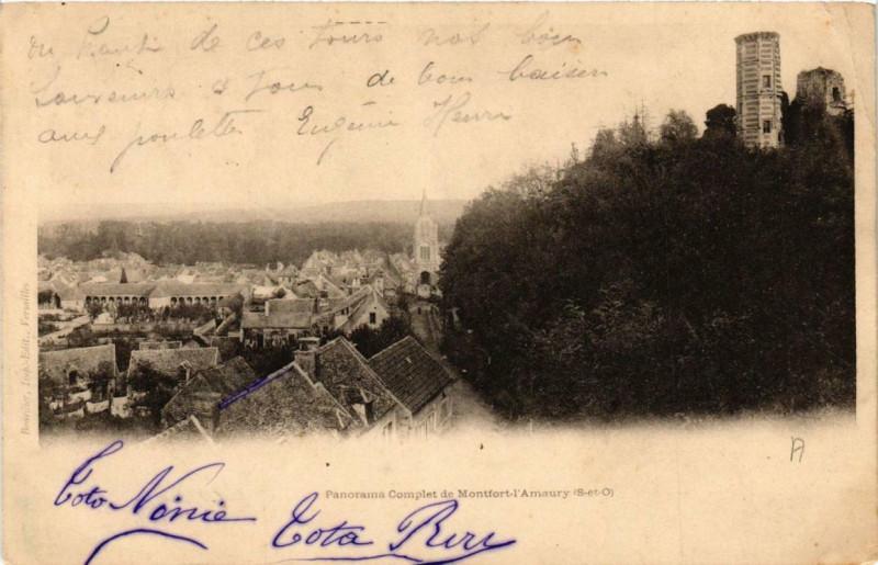 Carte postale ancienne Montfort-L'Amaury Panorama Complet à Montfort-l'Amaury
