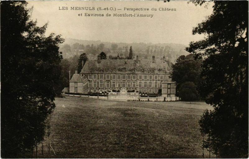 Carte postale ancienne Les Mesnuls - Perspective du Chateau et Env. de Montfort-l'Amau aux Mesnuls