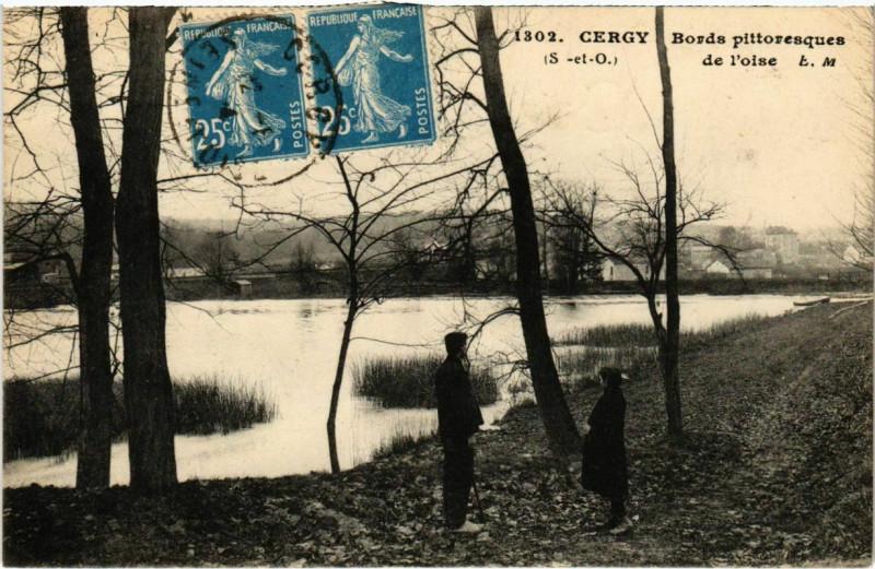 Carte postale ancienne Cergy - Bords pittoresque à Cergy