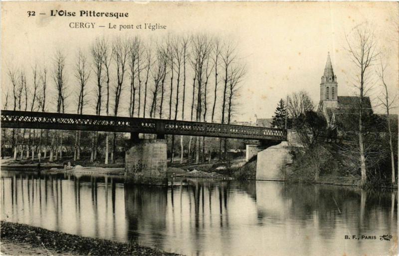 Carte postale ancienne Val-d'Oise Cergy Le pont et l'Eglise à Cergy
