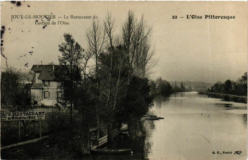 Carte postale ancienne Jouy-le-Moutier Le Restaurant du Goujon à Jouy-le-Moutier