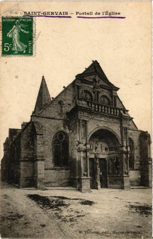 Carte postale ancienne Saint-Gervais - Portail de l'Eglise à Saint-Gervais