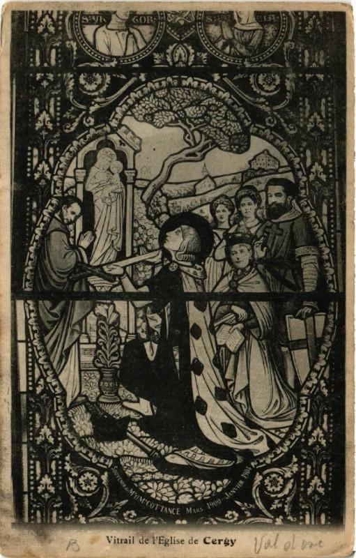 Carte postale ancienne Vitrail de l'Eglise de Cergy à Cergy