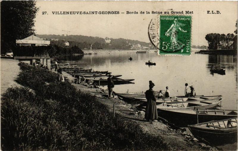 Carte postale ancienne Villeneuve-Saint-Georges - Bords de la Seine au Grand Mat à Villeneuve-Saint-Georges