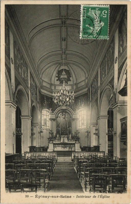Carte postale ancienne Epinay-sur-Seine - Interieur de l'Eglise à Épinay-sur-Seine