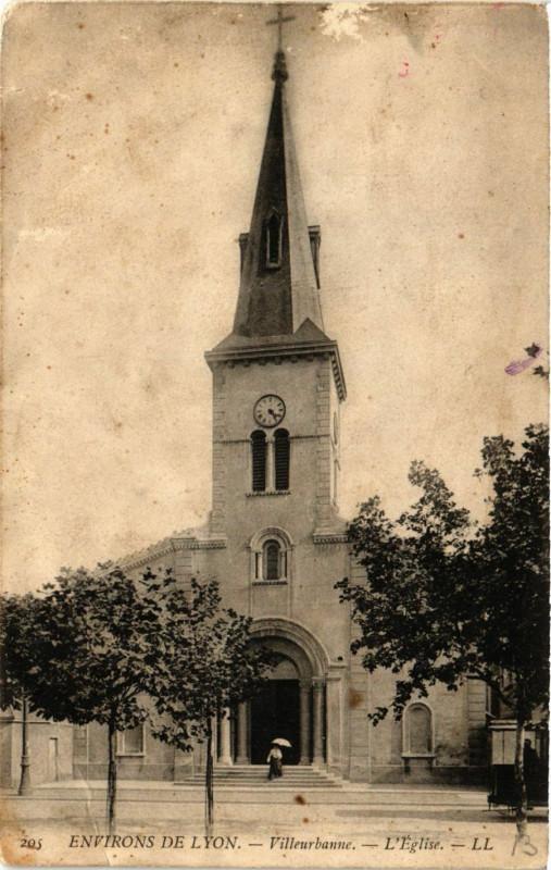Carte postale ancienne Villeurbanne - Eglise - Env. de Lyon à Villeurbanne