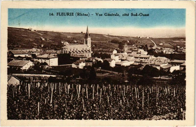 Carte postale ancienne Fleurie - Vue Generale - Cote Sud-Ouest à Fleurie
