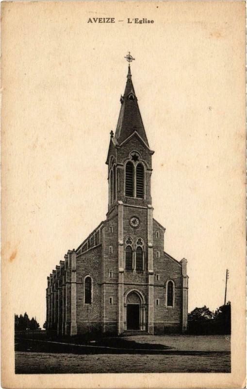 Carte postale ancienne Aveize L'Eglise Rhone à Aveize