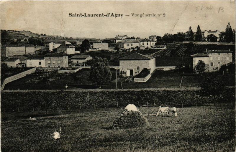 Carte postale ancienne Saint Laurent D'Agny - Vue generale à Saint-Laurent-d'Agny