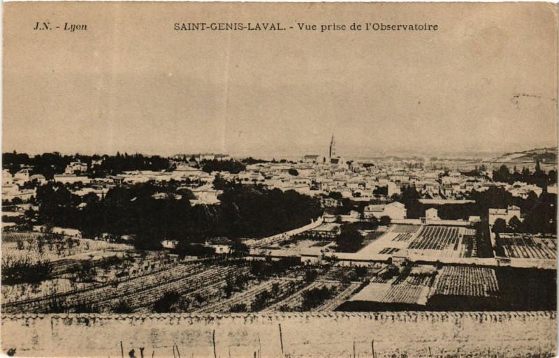 Carte postale ancienne Saint Genis Laval - Vue prise de lObservatoire à Saint-Genis-Laval