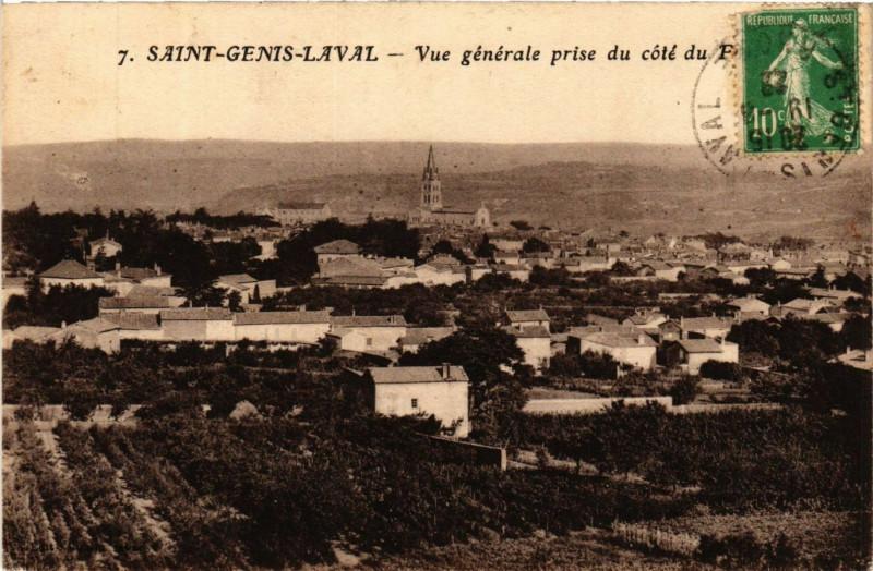 Carte postale ancienne Saint Genis Laval - Vue generale à Saint-Genis-Laval