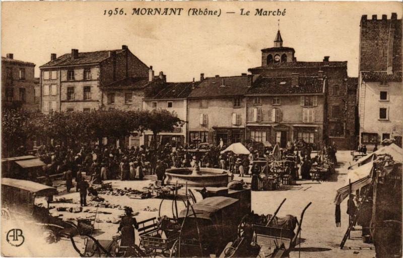 Carte postale ancienne Mornant - Le Marché à Mornant