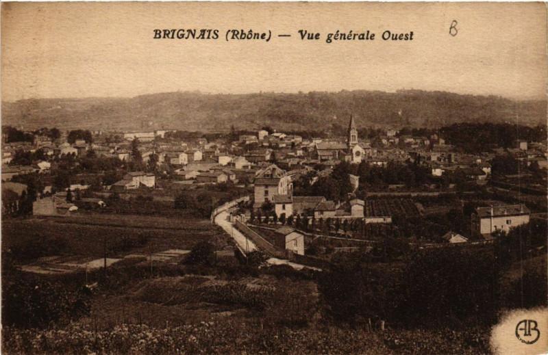 Carte postale ancienne Brignais Vue générale Ouest à Brignais