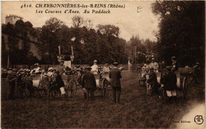 Carte postale ancienne Charbonnieres-les-Bains - Le Courses d'Anes-Au Paddock à Charbonnières-les-Bains