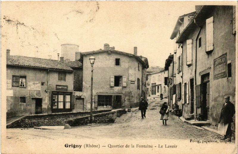 Carte postale ancienne Grigny - Quartier de la Fontaine - Le Lavoir à Grigny