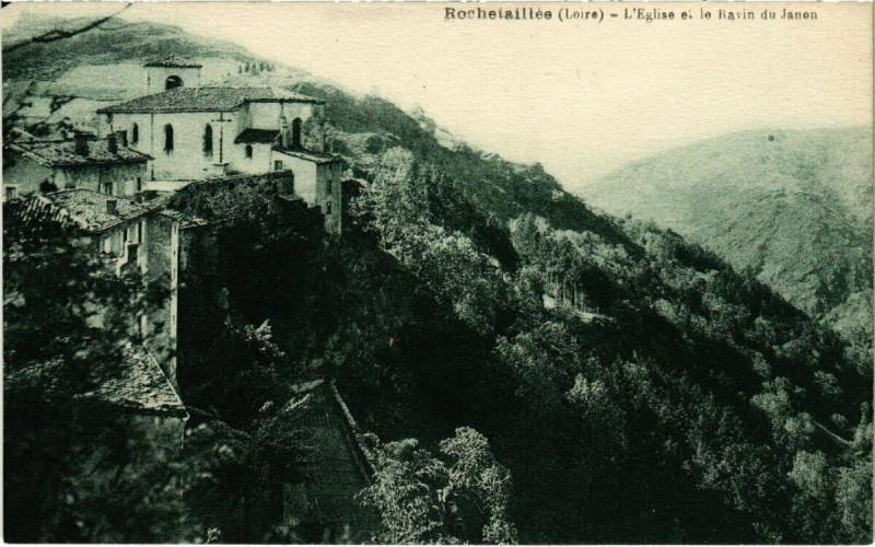 Carte postale ancienne Rochetaillée - L'Eglise et le Ravin du Janon à Roche