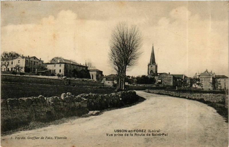 Carte postale ancienne Usson-en-Forez - Vue prise de la Route de Saint-Pal France à Usson-en-Forez