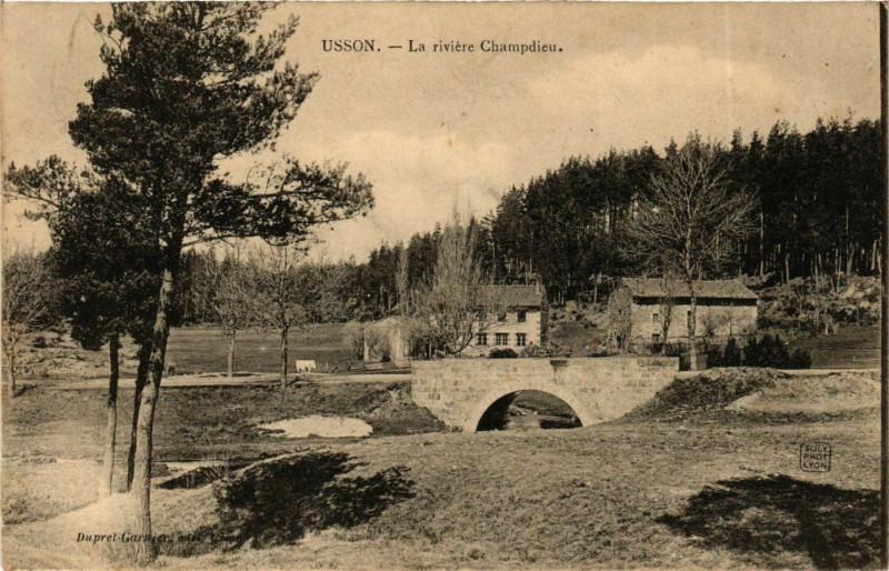 Carte postale ancienne Usson - Usson-en-Forez - La Riviere Champdieu France à Usson-en-Forez