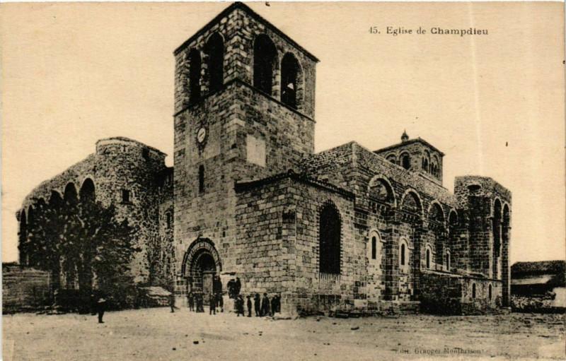 Carte postale ancienne Champdieu - Eglise de Champdieu France à Champdieu