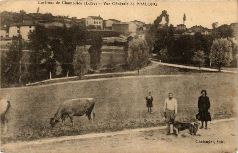 Carte postale ancienne Vue generale de Pralong à Pralong