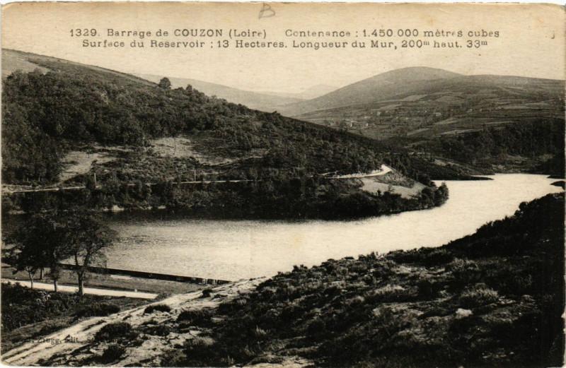 Carte postale ancienne Barrage de Couzon - Contenance 1 450 000 metres cubes ..