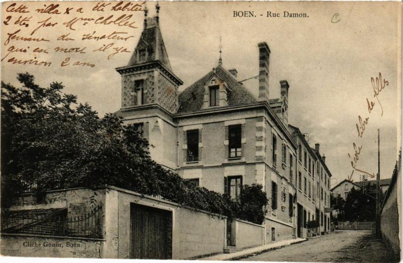 Carte postale ancienne Boen - Rue Damon