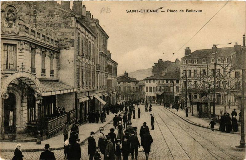 Carte postale ancienne Saint-Etienne Place de Bellevue