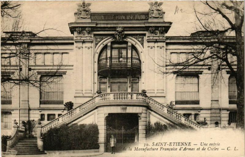 Carte postale ancienne Saint-Etienne Entrée de la Manufacture Francaise d'Armes et de Cycles