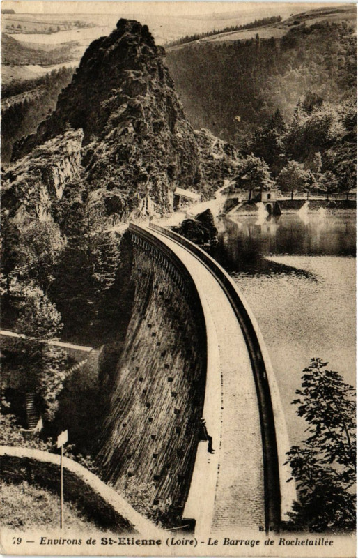 Carte postale ancienne Environs de Saint-Etienne - Le Barrage de Rochetaillee à Roche