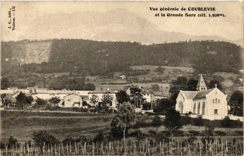 Carte postale ancienne Coublevie - Vue Generale et le Grande Sure France à Coublevie