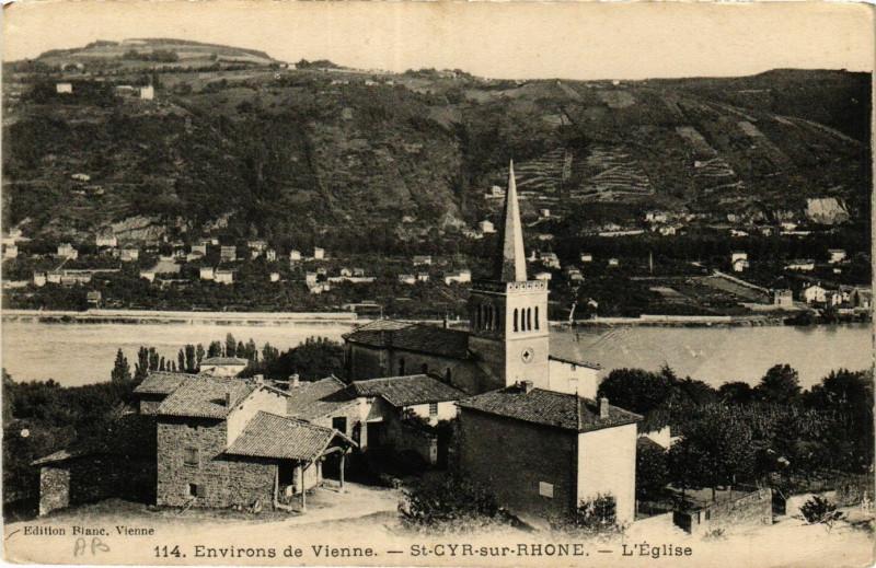 Carte postale ancienne Env. de Vienne - St-Cyr-sur-Rhone - L'Eglise à Vienne