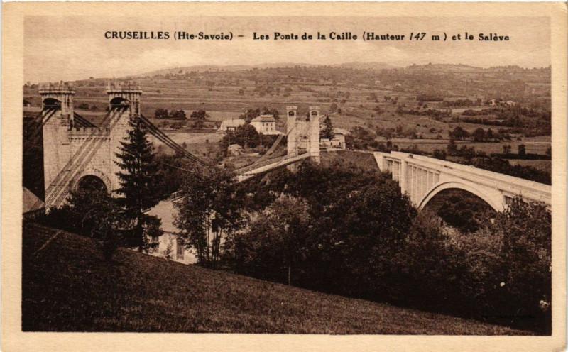 Carte postale ancienne Cruseilles - Les Ponts de la Caille (Hauteur 147 m) à Cruseilles