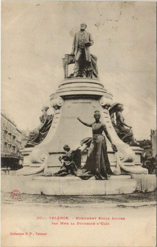 Carte postale ancienne Valence Monument Emile Augier France à Valence