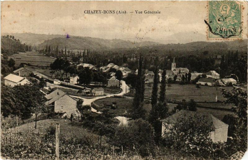 Carte postale ancienne Chazey-Bons Vue générale à Chazey-Bons